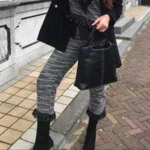 Zara Black White Pattern Fringe Trim  Pant Sz L